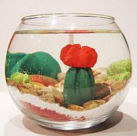 Свеча гелевая Чародейка шар суккуленты кактусы красная