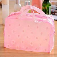 Косметичка-прозора сумочка рожева