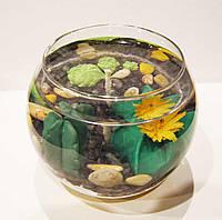 Свеча гелевая Чародейка шар суккуленты кактусы желтая