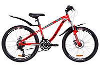 """Велосипед 24"""" Discovery FLINT AM 14G DD St с крылом Pl 2019 (красно-бирюзовый с черным)"""