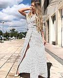 Платье длинное с запахом  в горох красный, чёрный, белый, пудра, фото 3