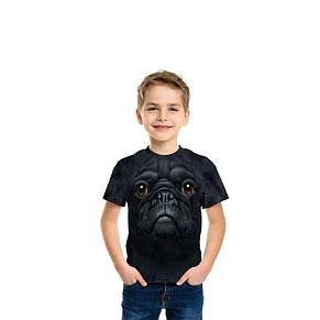3D футболка для мальчика The Mountain р.L 10-12 лет футболки детские с 3д принтом рисунком (Черный Мопс), фото 2