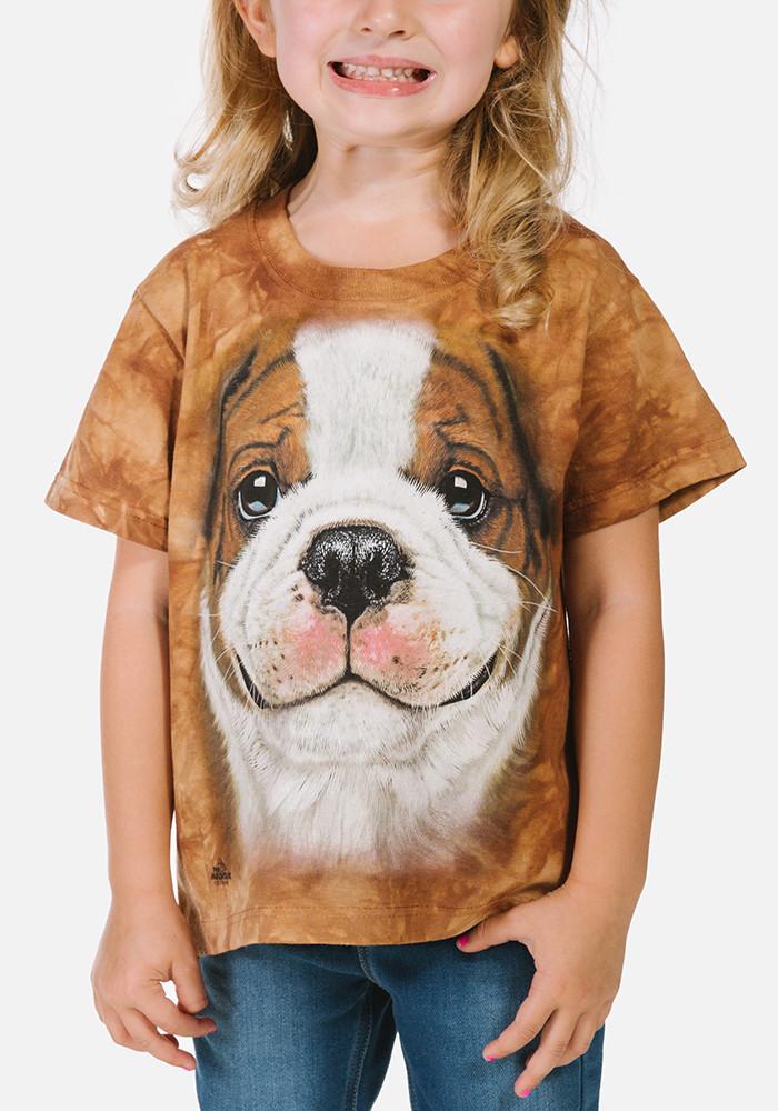 3D футболка для девочки The Mountain размер S 5-6 лет футболки детские с 3д принтом (Щенок Бульдога)