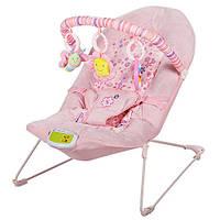 Шезлонг-качалка детский, Качалка для ребёнка BAMBI 30602 (розовый)