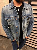 cb6a5abcb7c Джинсовая куртка мужской синяя рваная СТИЛЬНЫЙ весна лето осень ХОРОШЕЕ  КАЧЕСТВО мужская джинсовка