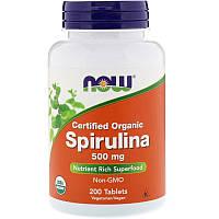 "Спирулина NOW Foods ""Spirulina"" 500 мг, натуральная (200 таблеток)"