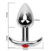 Анальная пробка якорь с узкой ножкой Tiffany Anal Plug размер S 2,8 СМ с кристалом, фото 3