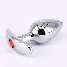 Анальная пробка якорь стальная с узкой ножкой Tiffany Anal Plug размер L 4 СМ с кристалом, фото 2