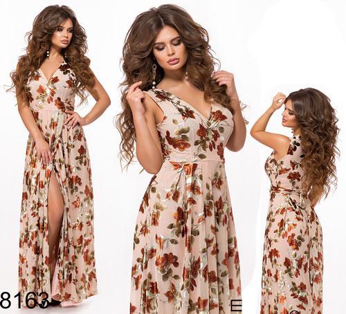 Весеннее длинное платье с разрезом (пудра) 828163