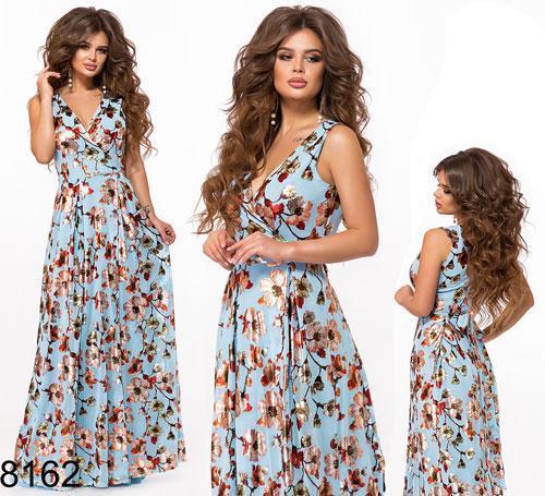Длинное цветочное платье на запах (голубой) 828162