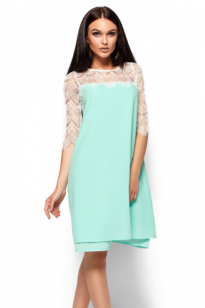 (M / 44-46) Вечірнє ментолове гіпюрове плаття Natty