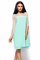 (S, M, L) Вечірнє ментолове гіпюрове плаття Natty