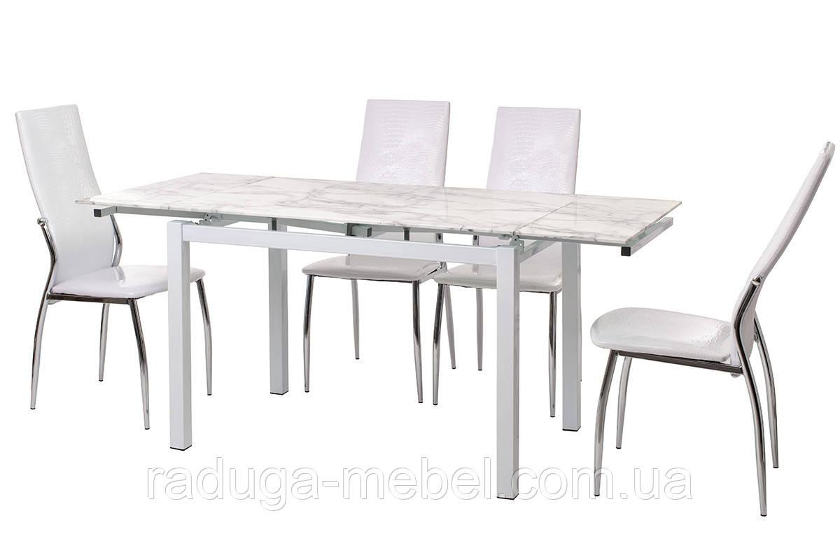 Стол кухонный обеденный стеклянный белый мрамор T-231