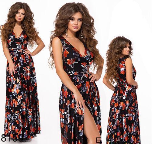 Длинное платье с разрезом цветочным принт (черный) 828159