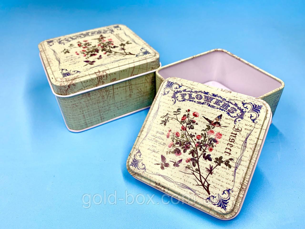Набор жестяных коробочек 2 в 1 «green flowers»