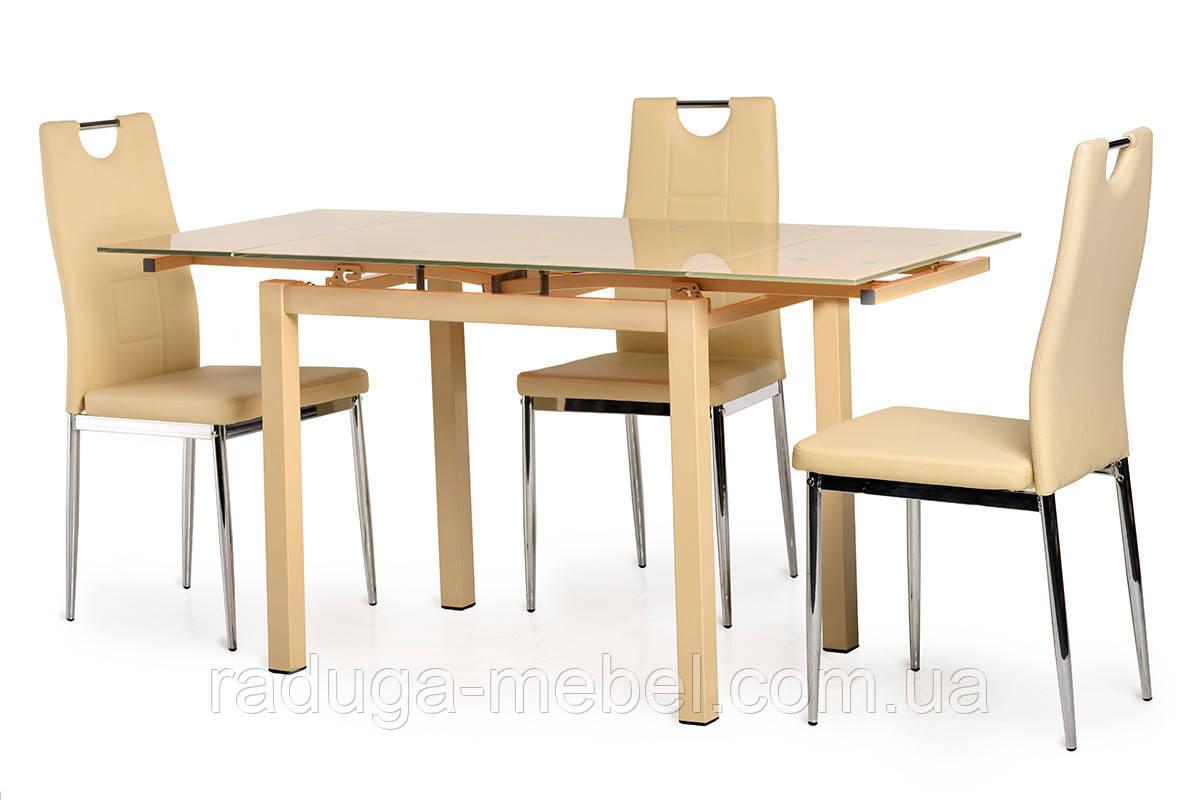 Стол кухонный обеденный стеклянный кремовый T-231-8