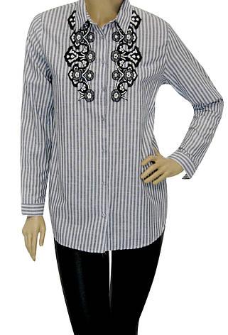 Жіноча сорочка в полоску з вишивкою, фото 2