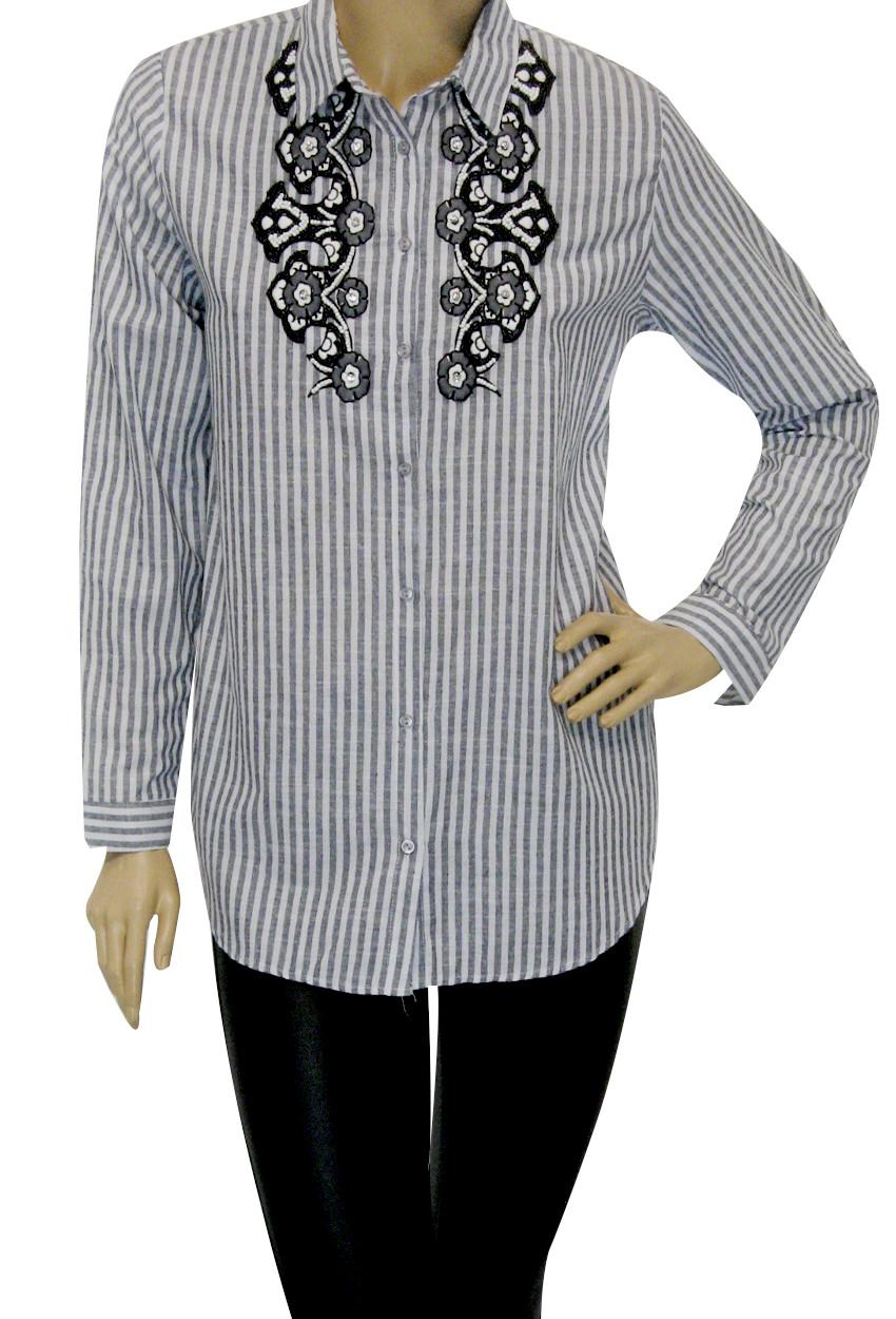 Жіноча сорочка в полоску з вишивкою
