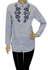 Жіноча сорочка в полоску з вишивкою, фото 3