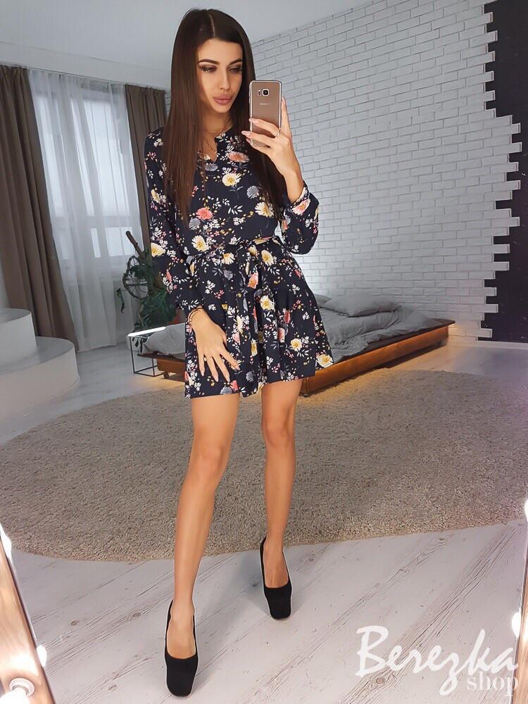 Платье-трапеция под пояс с оборкой 66plt2469