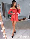 Шелковое платье на бретелях с открытыми плечами и пышной юбкой 66plt2470, фото 2