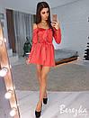 Шелковое платье на бретелях с открытыми плечами и пышной юбкой 66plt2470, фото 3
