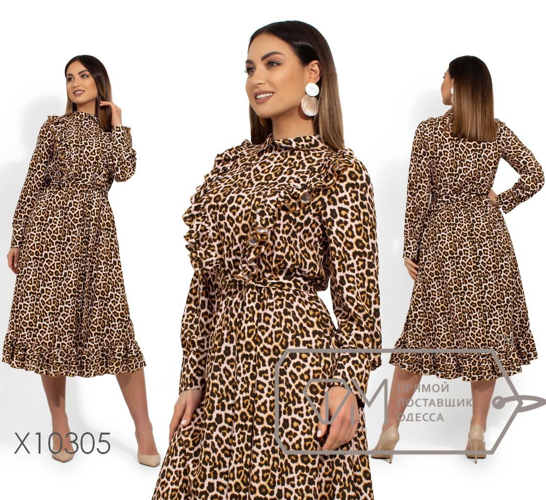 Женское платье леопардовое в больших размерах с оборками 1blr1475