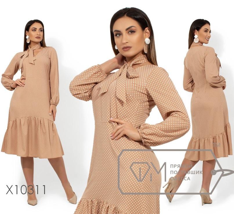 Платье-трапеция в горошек с оборкой в больших размерах 1blr1478