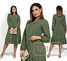 Платье-трапеция в горошек с оборкой в больших размерах 1blr1478, фото 2