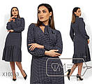 Платье-трапеция в горошек с оборкой в больших размерах 1blr1478, фото 3