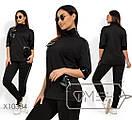 Женский брючный костюм в кожаными вставками в больших размерах 1blr1484, фото 2