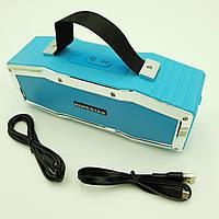 Беспроводная аккумуляторная колонка Bluetooth акустика FM MP3 AUX USB Hopestar A9 голубой