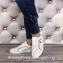 Женские кожаные кроссовки на шнуровке , белые  V 1240