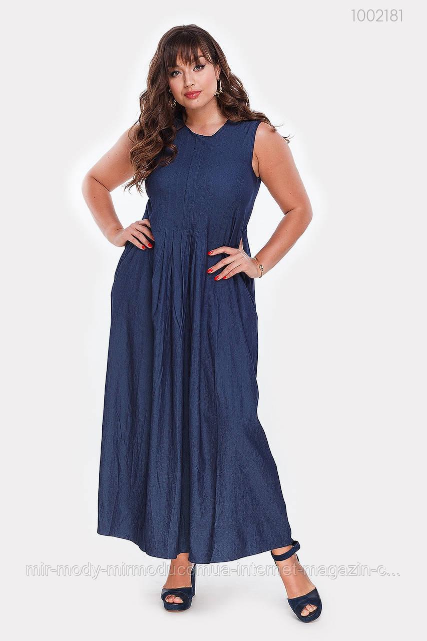 Платье  батальное джинсовое Шарлотт (синий) (2 цвета) с 48 по 54  размер (пин)