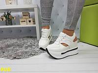 Сникерсы кроссовки на высокой платформе с открытой пяткой белые, фото 1