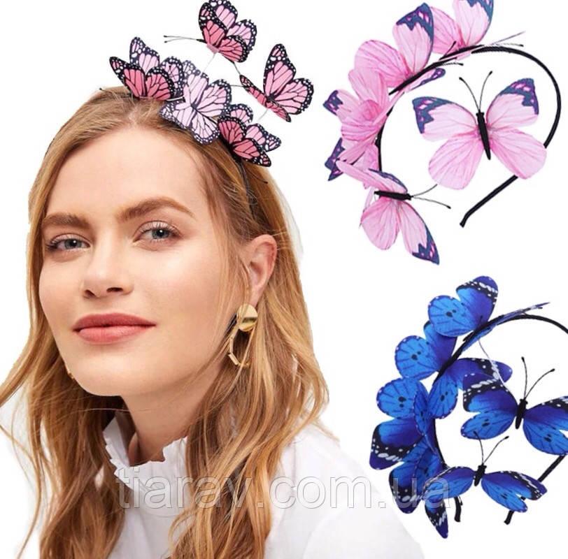Обруч для волос с розовыми бабочками, ободок на голову