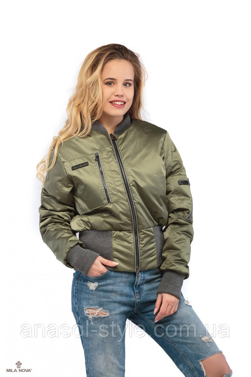 Куртка бомбер ML  атласная плащевка  металлик хаки