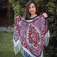 Яркий белый павлопосадский платок (120х120 см, белый, 80%-шерсть)