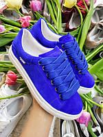 Зручні сині кеди кросівки жіночі на білій підошві комфортна натуральна взуття від виробника