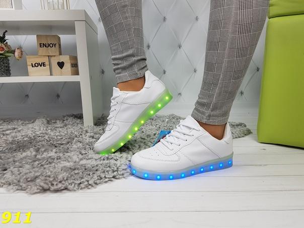 Кроссовки белые форсы со светящейся подошвой Led подсветка