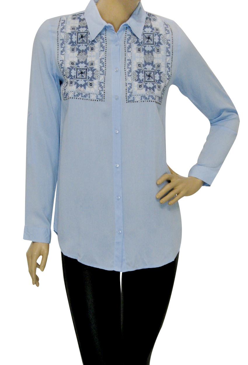 Жіноча сорочка штапель, декорована вишивкою
