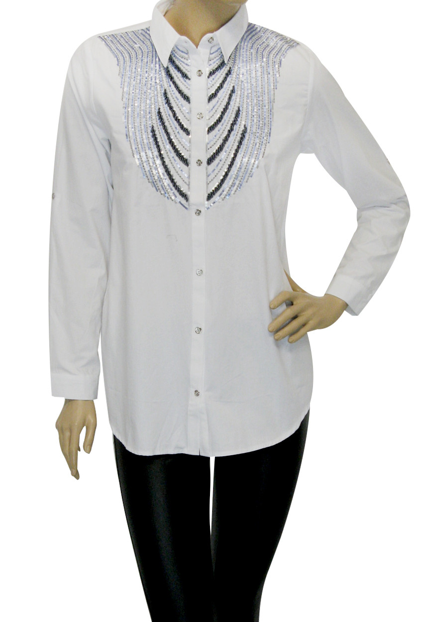 Жіноча біла сорочка з вишивкою із паєток