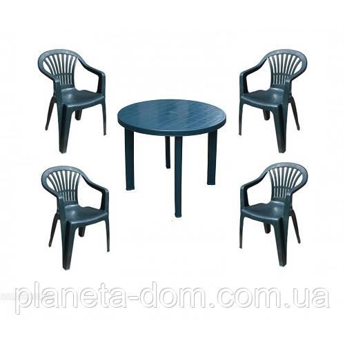 Комплект пластиковой мебели Tondo 4 зелёный