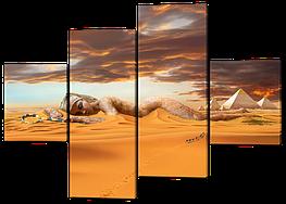 Модульная картина Interno Эко кожа Египет статуя 166х114см (А266L)