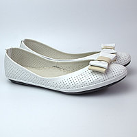 Балетки белые летние кожаные женская обувь Scarbat V White Perl Perf Leather by Rosso Avangard , фото 1