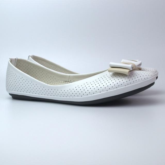 Балетки белые летние кожаные женская обувь Scarbat V White Perl Perf Leather by Rosso Avangard