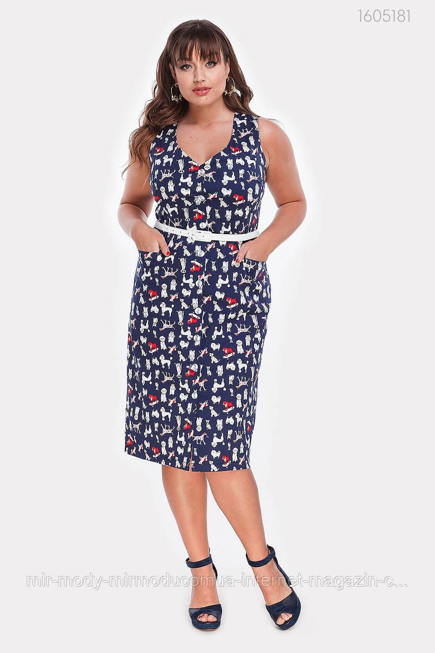 Платье стрейч-коттон Вермонт (синий)(2 цвета) с 48 по 54 размер (рин)