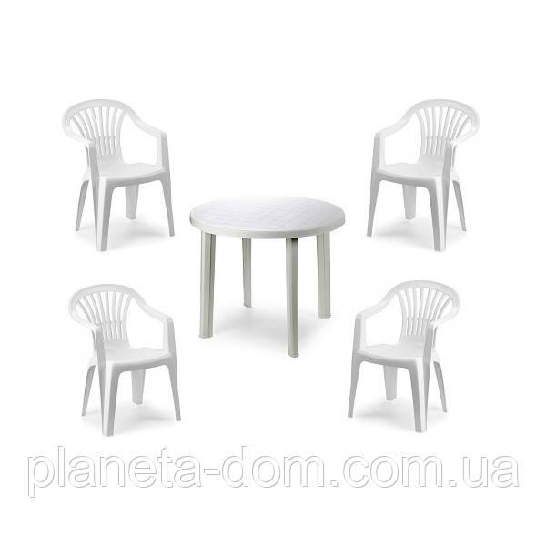 Комплект пластикових меблів Tondo 4 білий