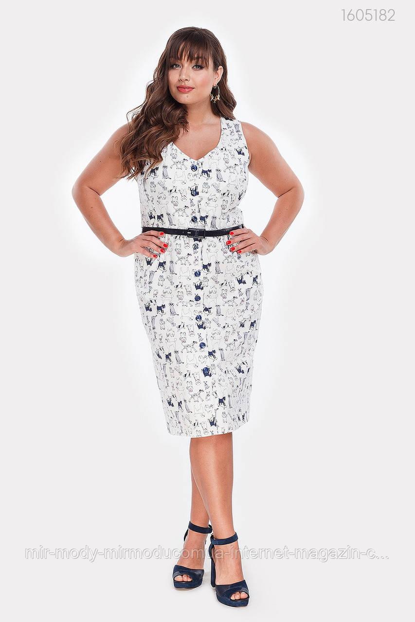 Платье стрейч-коттон Вермонт (белый)(2 цвета) с 48 по 54 размер (рин)