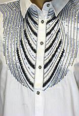 Жіноча біла сорочка з вишивкою із паєток, фото 3